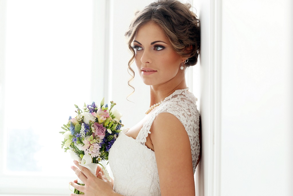Wedding. Beautiful bride, Wedding. Attractive bride with bouquet