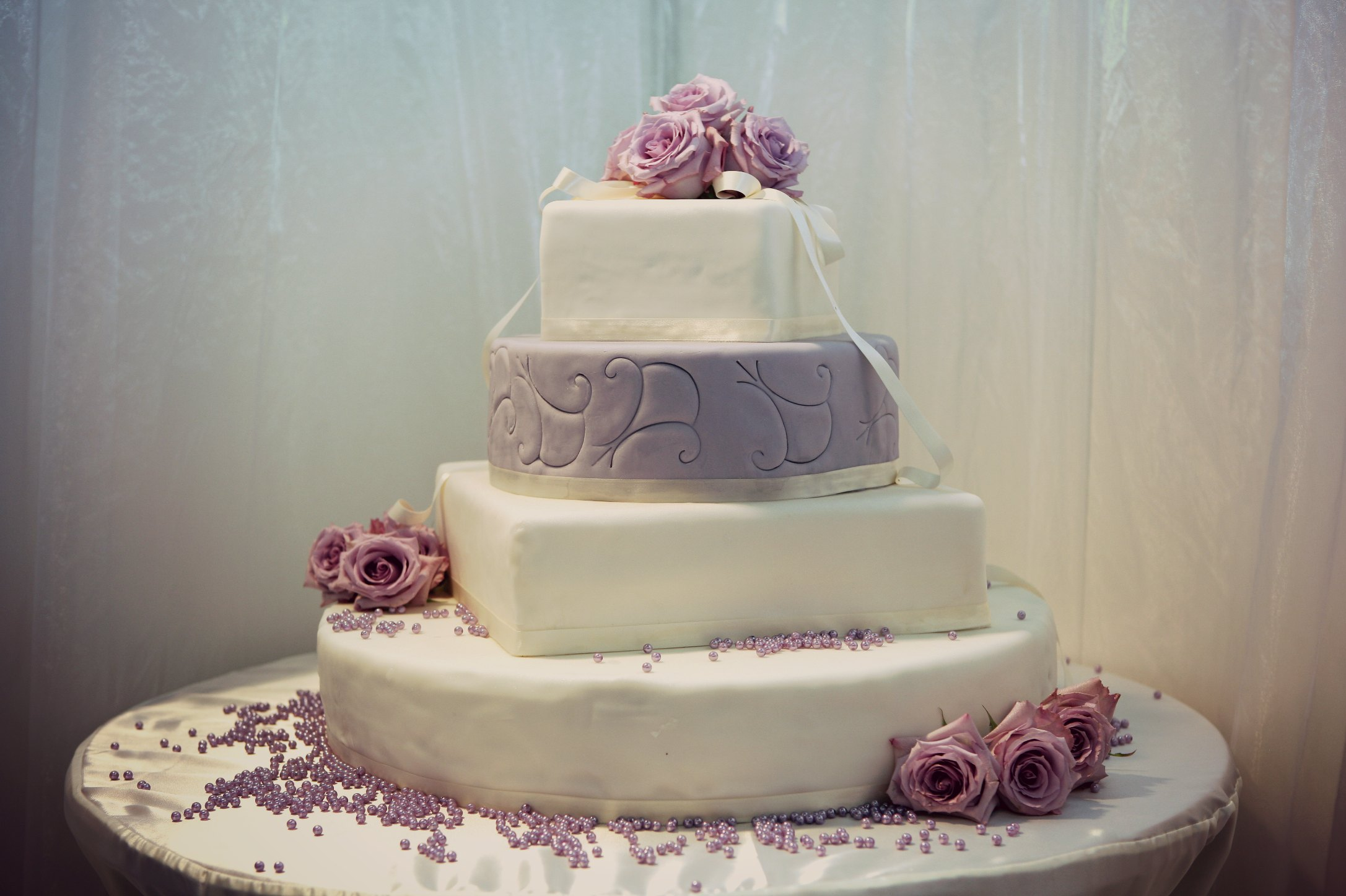 Beautiful wedding cake decorated with roses