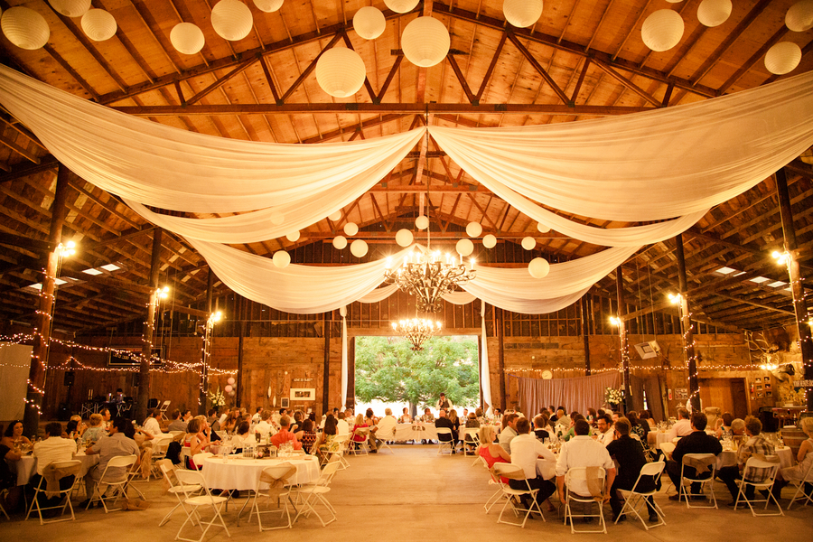 White Barn Wedding Decorations